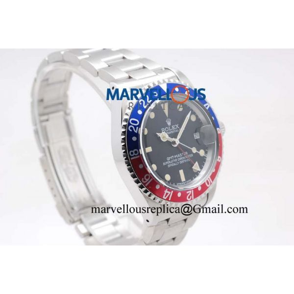 Rolex Vintage GMT-Master 1675 Blue&Red Bezel Yellow Lume A21J Black Dial